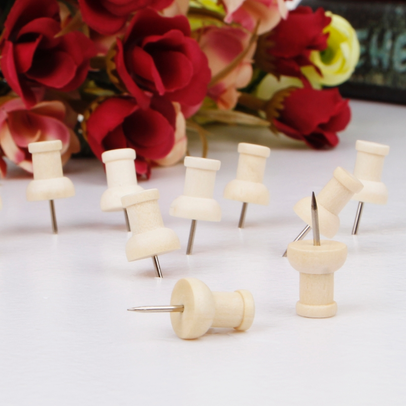 40 Pcs Wooden Thumbtack Creative Decorative Drawing Push Pins Wood Head Office X6HB