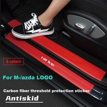 Стайлинга автомобилей 4 шт. автомобиль порога двери из углеродного волокна накладка Стикеры для Mazda Demio 2 3 5 6 M2 M3 M5 M6 CX-5 CX-7 CX-9 RX-8 MX5