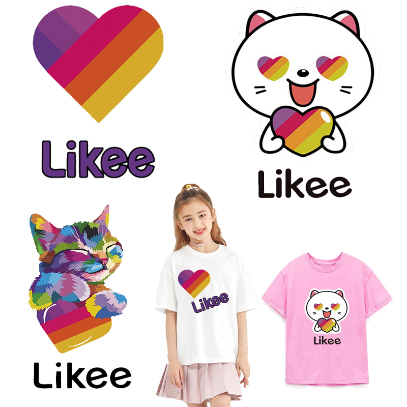 Likee App Patch Iron On Transfers For Clothes Heat Transfer Thermal Applique Stickers For Clothes DIY T Shirt Badge Washable