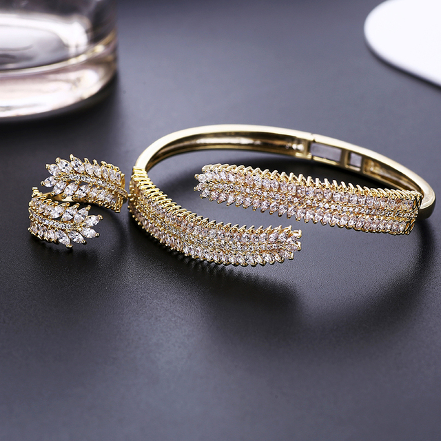 Luxury Cubic Zirconia Bangle Ring Set Women Wedding Jewelry Charm Opening Copper Bracelet XIUMEIYIZU Plating Jewelry Wholesale