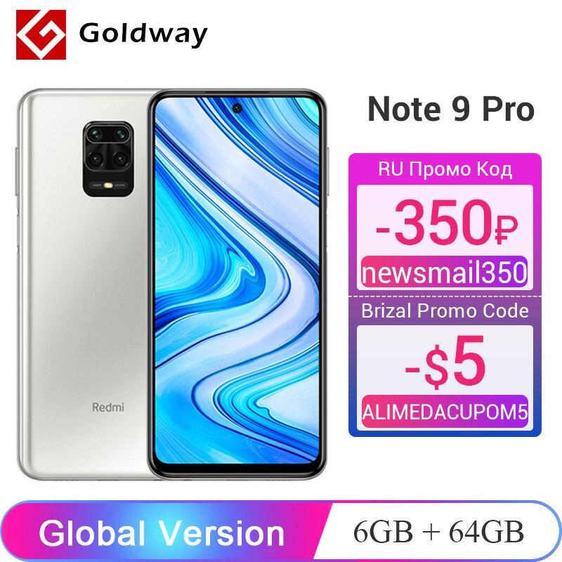 Глобальная версия Xiaomi Redmi Note 9 Pro 6 ГБ ОЗУ 64 ГБ / 128 ГБ ПЗУ Мобильный телефон Snapdragon 720G 64Мп Четыре камеры 6,67