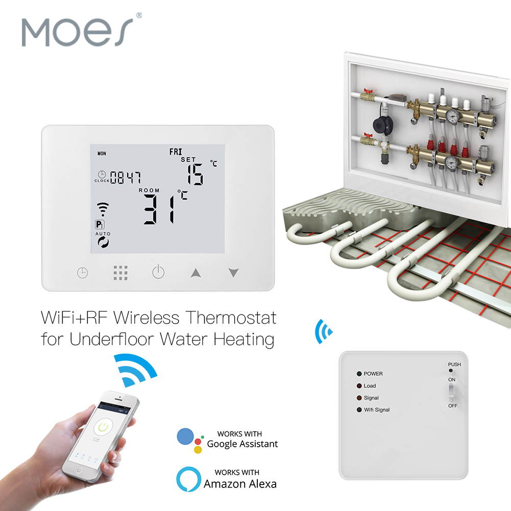 WiFi Smart Thermostat Wall-Hung Water Underfloor Heating Temperature Controller Work With Alexa Google Home