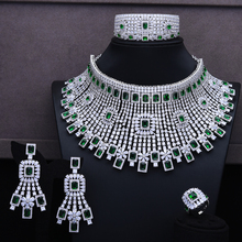 GODKI Luxury 4 قطعة المختنقون قلادة طقم أقراط زركون مجموعات مجوهرات للنساء زفاف تشكيلة حُلي هندي للزفاف 2018
