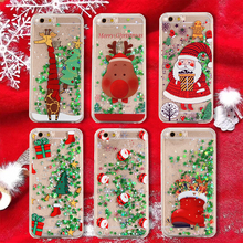 Christmas quicksand phone case For 7 Plus 8 X XR 6 6s XS MAX Santa snowman elk christmas tree giraffe socks