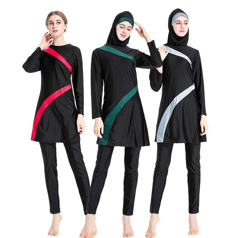 Muslimah Women Swimsuit 2019 New Burkini Long Sleeve Swim Surf Wear Sport Burkinis Islamic Swimwear Patchwork Color Muslim 6XL