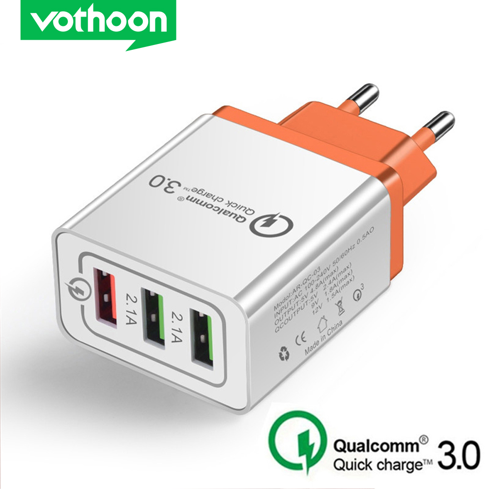 Vothoon 3 Ports Quick Charger 3.0 USB Charger Fast Charging EU Plug Mobile Phone Charger For Samsung S10 Xiaomi Huawei