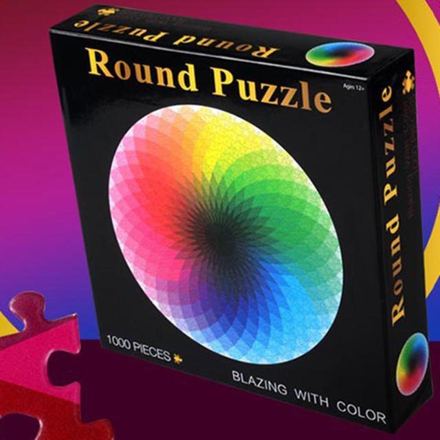 1000 pièces/ensemble coloré arc-en-ciel rond géométrique Photo Puzzle adulte enfants bricolage éducatif réduire le Stress jouet Puzzle papier