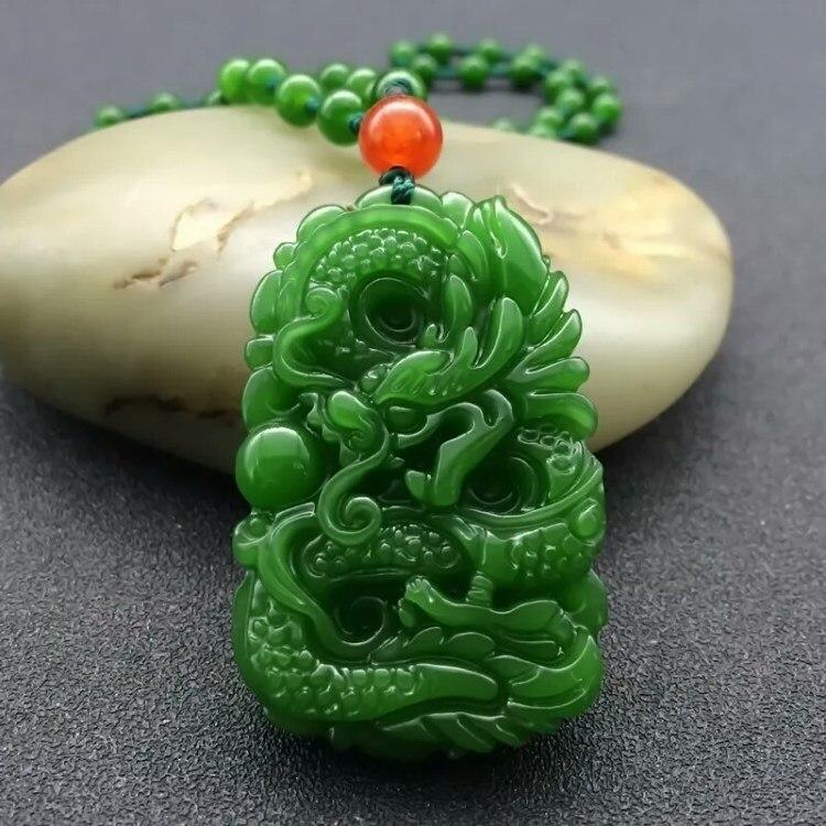 (Hetian) нефрита, Нефритовый Кулон Нефритовый дракон кулон, смоченную товар нефрита Нефрит зодиака длинные Yu цепи для Для мужчин и Для женщин