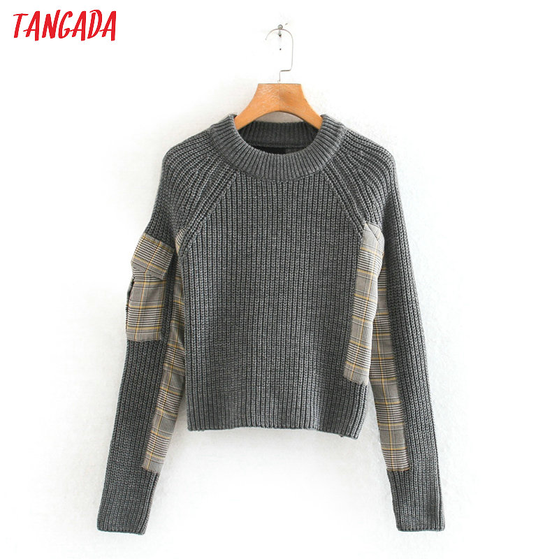 Tangada Korea Chic Women Plaid Patchwork Sweet Sweater Pocket Long Sleeve Vintage Ladies Cropped Knitted Jumper Tops RY28