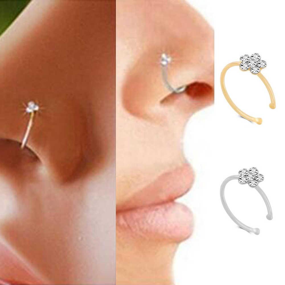 1 adet küçük ince Rhinestone kristaller çiçek sahte Septum Piercing burun halkaları çiviler sahte klip burun çember göbek takısı