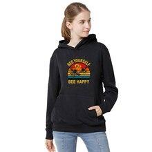 Весна осень свободного покроя женская толстовка с капюшоном с длинным рукавом толстовки женщин пчела счастлив печатных толстовка пуловер