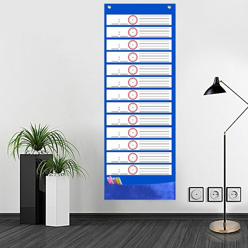 Daily Schedule Pocket Chart 26 Double-Sided Reusable Dry-Eraser Cards For Office