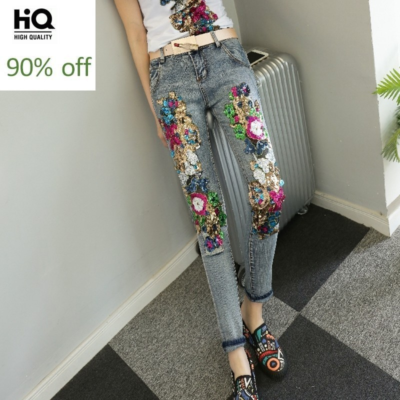 Newest 2020 Autumn Sequins Flower Embellished High Quality Gorgeous Chic Jeans Women Trousers Retro Bounce Hip Hop Pencil Pants