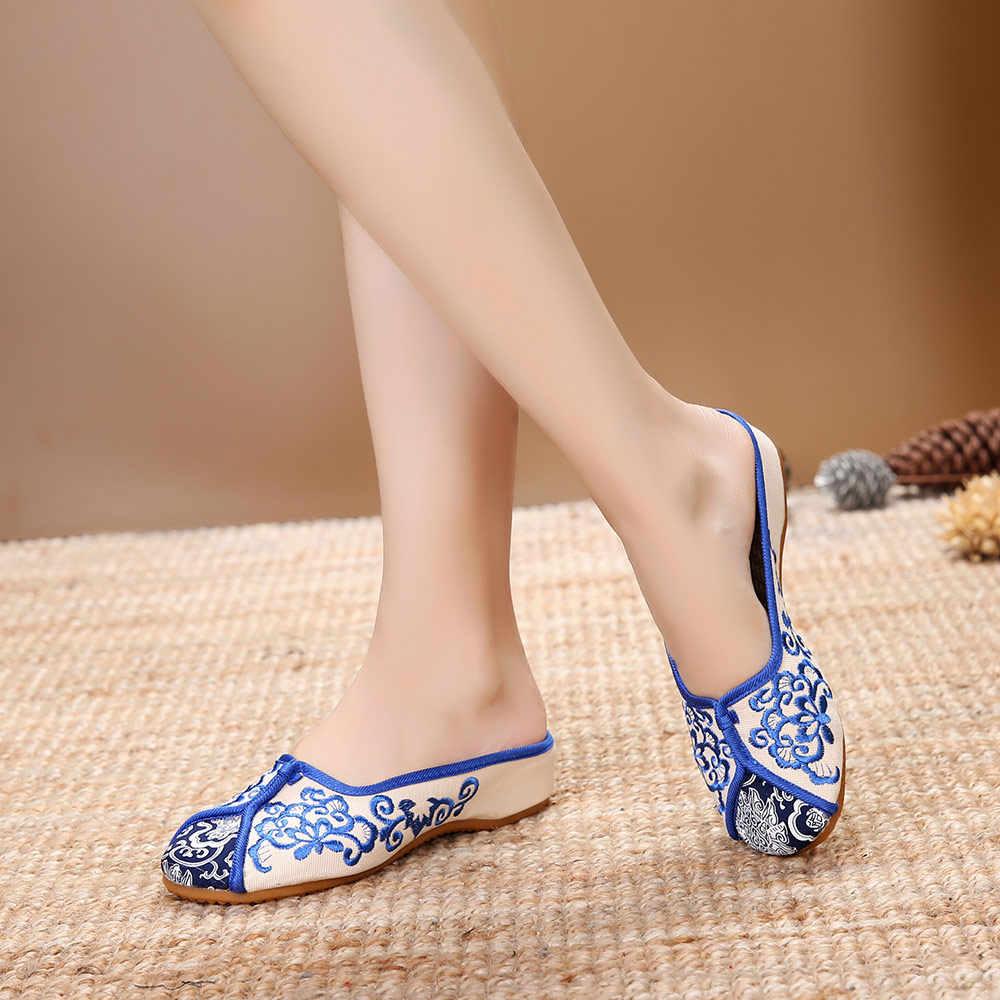 Veowalk ผู้หญิงวินเทจผ้าใบ Close Toe รองเท้าแตะจีนปักสุภาพสตรีสบายสไลด์แบนรองเท้า Retro รองเท้าฤดูร้อน