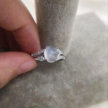 Овальный натуральный лунный камень 925 стерлингового серебра CZ Accent кольца для женщин девочек Свадебные обручальные ювелирные изделия регулируемый палец
