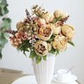 2020 1 Bouquet Artificial flowers European Artificial Fall Vivid rose Peony Silk flower Fake Leaf Wedding Home Party Decoration