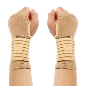 2 sztuk 1 Pair elastyczność nadgarstek bandaż wsparcie odzież sportowa zapalenie stawów pas taśmowy odkryty tunel nadgarstka ręcznie Brace akcesoria tanie i dobre opinie Dla dorosłych CN (pochodzenie) Polyester S24998941 2pcs Beige 18X9cm
