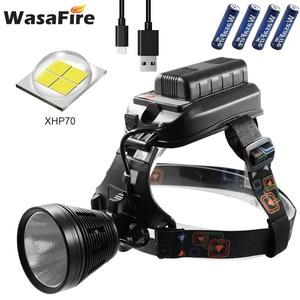 Светодиодный налобный фонарь XHP70, мощный налобный фонарь с зарядкой от USB, светильник на лбу с 4 батареями 18650 для кемпинга и рыбалки