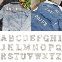 Handmade Letter Cloth Stickers Patches On Clothes Applique Letter Rhinestone Patches Gold Without Glue Pearl Q3B0