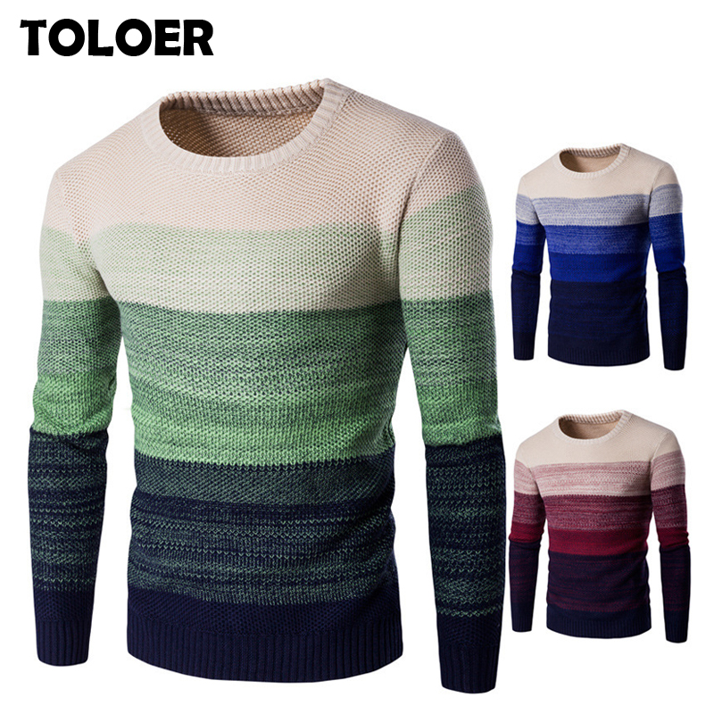 Winter Sweater Men 2019 Casual Knitted Soft Cotton O-Neck Sweaters Pullover Men's Autumn New Fashion Striped Sweater Coat Male(China)