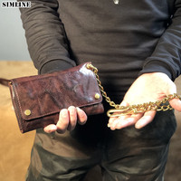 Genuine Leather Wallet Men Male Vintage Handmade Long Clutch Wallets Purse With Zipper Coin Pocket Card Holder Anti theft Chain