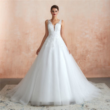 Wedding-Dresses Robe Ball-Gown Mariee Tulle Sequins BRIDAL Grande V-Neck with Veil-Beaded