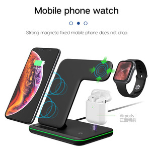 Image 2 - 15W 3 in 1 Wireless Charging Charger for iPhone Watch Airpods Induction Charger 3in1 for iPhone X XR 8 Plus Apple Watch 4 3 2 1
