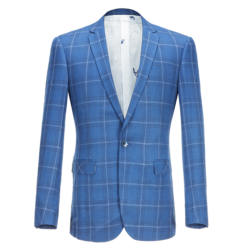2019 Autumn Blue Plaid Blazer Mens Blazer Homme Vestidos De Novia Slim Fit Business Veste Homme Costume Mens Office Check Jacket