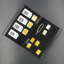 Алюминиевый Портативный SIM Micro Pin SIM контейнер для хранения карточек для Apple samsung 56 телефон память SIM контейнер для хранения карточек защитный чехол