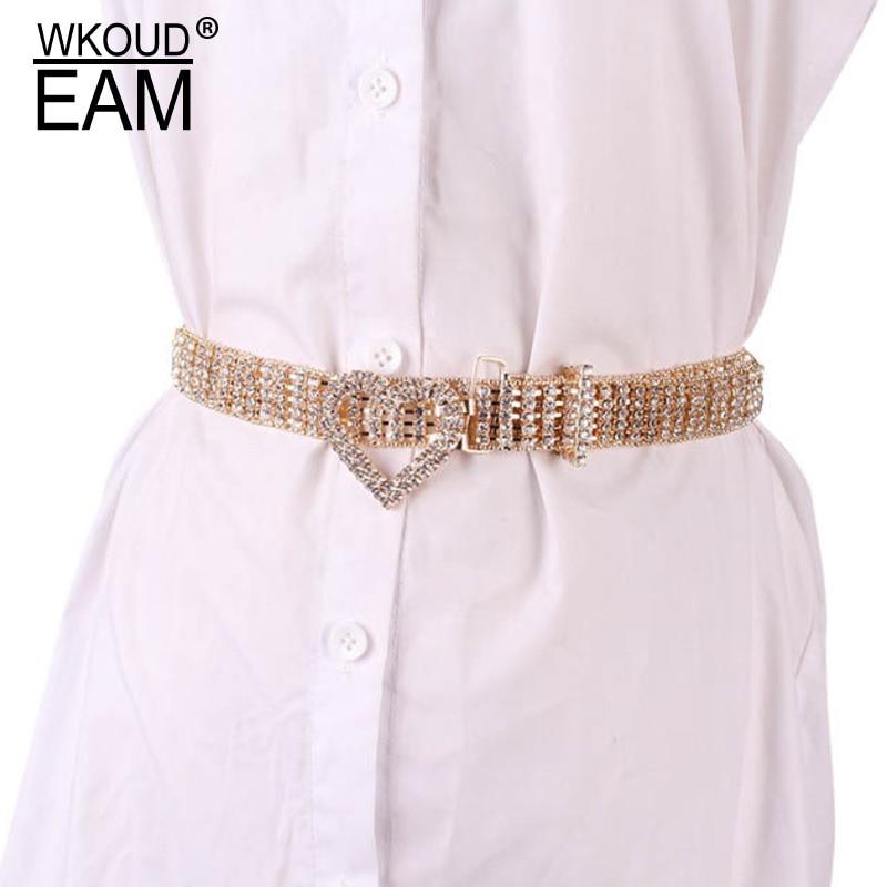 WKOUD EAM 2020 New Heart-shaped Buckle Crystal Waistband Women Sexy Shiney Diamond Belt Lady Tide PE217
