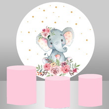 Round Circle Background Birthday Table Party Decoration Baptism Elephant  Baby Shower Elastic Fabric Cylinder Plinths Cover