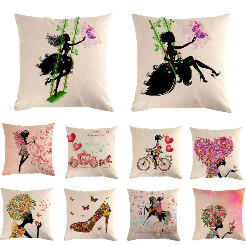 Flower Butterfly Girl Decorative Cushion Cover Cotton Linen Square Throw Pillow Cover Pillow Case Home Office Car Sofa Decor