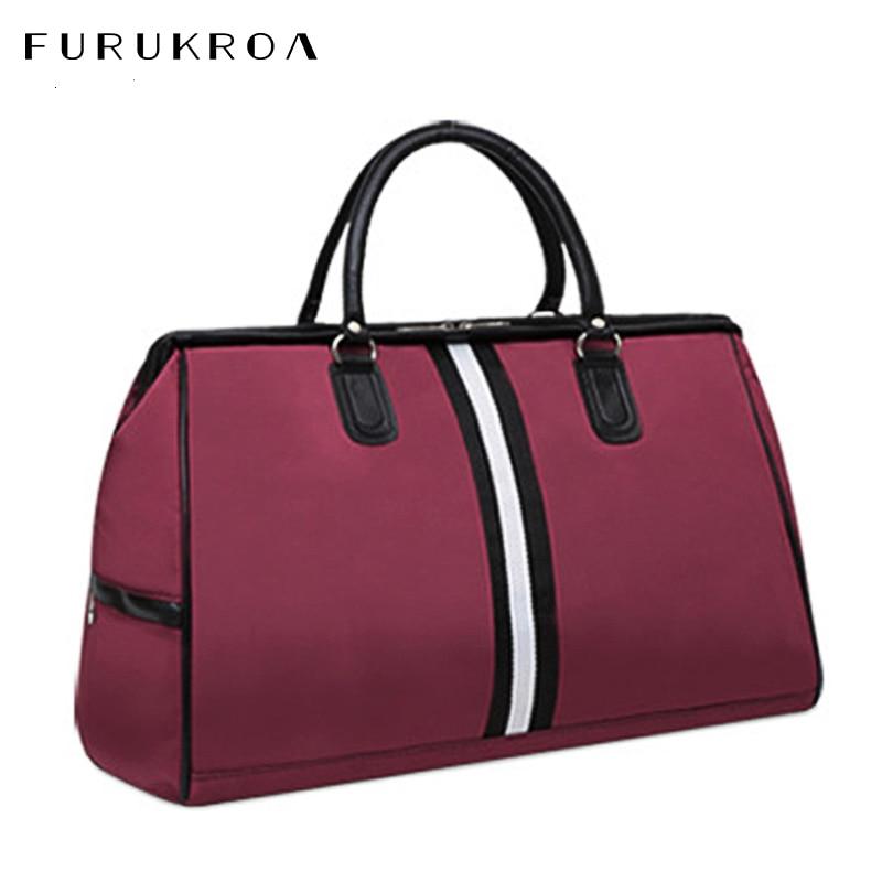Waterproof Hand Striped Travel Bag Fashion Traveling Bags For Women Fitness Handbags Sports Tote Big Sac Shoulder Bags XA829B