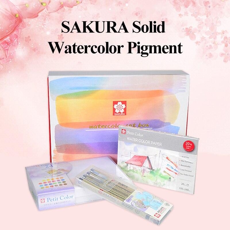 SAKURA solide aquarelle peintures Pigment 24 couleurs boîte-cadeau avec Pigma Micron aiguille stylo eau couleur brosse stylo peinture fournitures