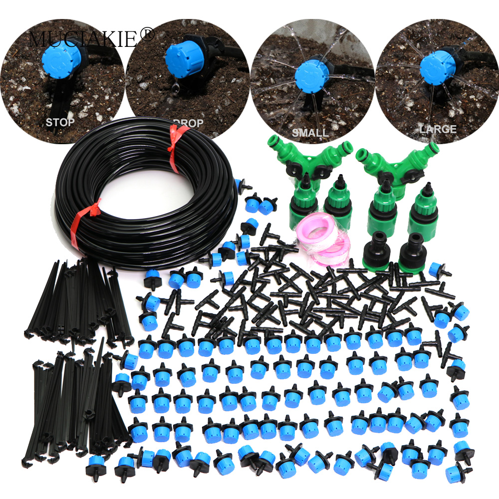 MUCIAKIE 5-50M Blue Adjustable Drip Irrigation Nozzle Watering System Stop to Large Water Drop Garden Patio Micro Kits