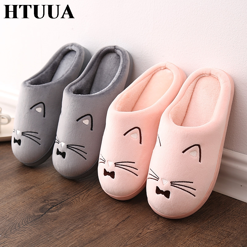 HTUUA Cotton Slippers Floor-Shoes House Couples Embroidery Plush Winter Women Indoor