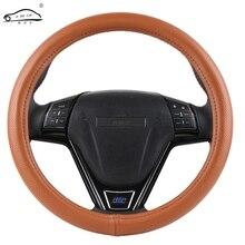 Capa para volante de carro, cobertura de couro genuíno, linhas de design para volante de carro, universal, de sílica gel
