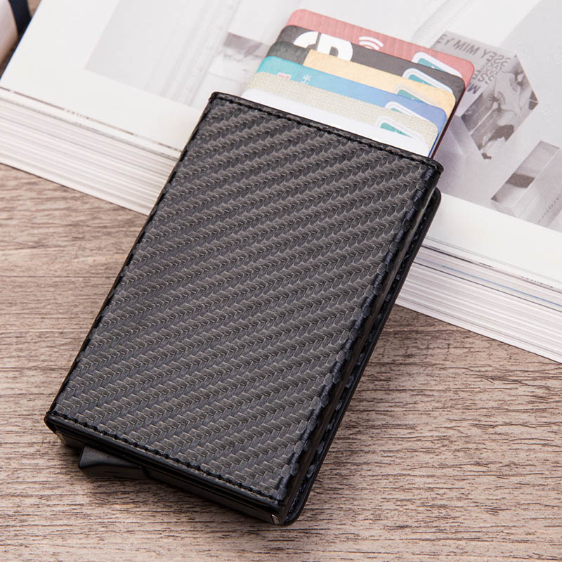 DIENQI Carton Fiber Card Holder Slim Men Wallets Trifold RFID Blocking Slim Mini Wallet Small Metal Purse Vallet Walet Magnet