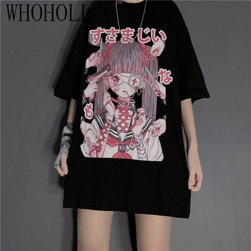 Ropa gótica de verano para mujer, Camiseta holgada Sexy para mujer, ropa urbana Punk oscuro Grunge, Top gótico, camisetas Harajuku