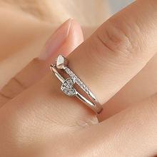 Креативный дизайн двойное кольцо с сердечками сверкающий Цирконий