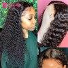 Pelo AliPearl Peluca de la onda profunda cierre 4x4 peluca para las mujeres negras peruano frente de encaje cierre pelucas de cabello humano de arrancar Ali pelo perla