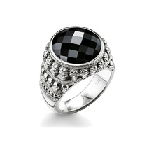 925 Sterling Silver Miniature Skulls Surround Oval Onyx Stone Skull Rings, Thomas Style Skeleton Ring Ts Jewelry for Women Men