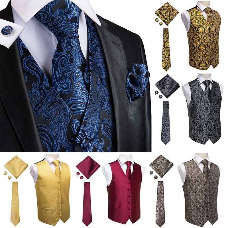 Hi-Tie Men's Vest Suit With Hanky Cufflinks Wedding Stage Show Vest For Men Gold Shiny Sequins Waistcoat Yellow  Classic Vests