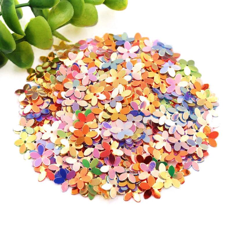RIDS 10 g//Lote de Lentejuelas de PVC Flor de 10mm con 1 Orificio Central Copa de Flor de Ciruelo Lentejuelas Sueltas Confeti de Colores Brillantes Dorados Mezclados