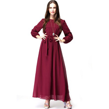 Casual Dress with Belt Women Costume Solid Clothing Plus Size High Waist Ankle-Length Lantern Sleeve Empire O-Neck Autumn Dress