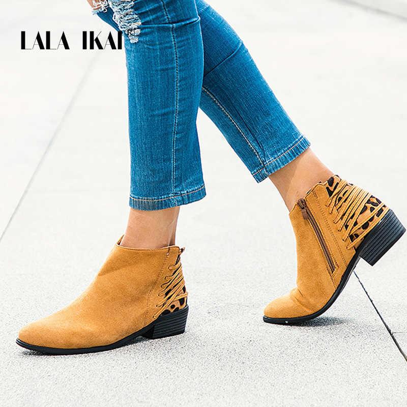 LALA IKAI kadınlar kış yarım çizmeler 2020 sonbahar leopar kısa çizmeler kadın rahat fermuar akın sivri burun Chelsea çizmeler WC5201-4