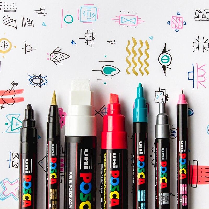 UNI POSCA Series Mark Pen Combination Packing Painting Filling Dedicated POP Poster Advertising Pen PC-1M / PC-3M / PC-5M
