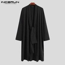 Men Cloak Cardigan Ponchos Coats Outerwear Long-Sleeve INCERUN Korean-Style Fashion Solid