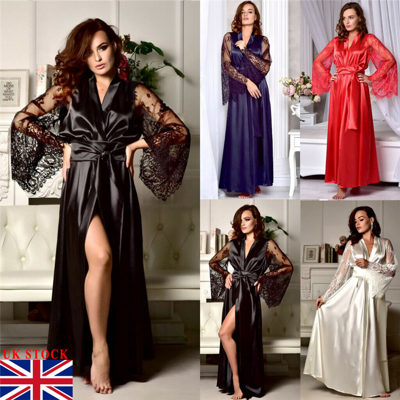 Women Satin Silk Lace Robe Dress   Nightgowns   Kimono Bridal Wedding Sleepwear Nightdress