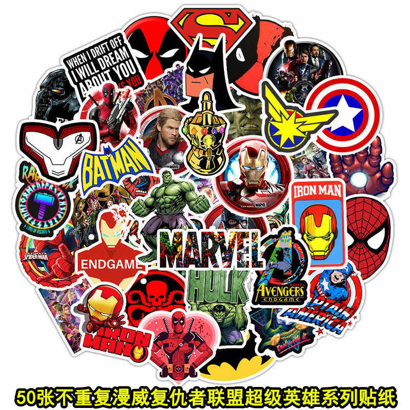 50PCS Marvel The Avengers Superhero Graffiti Adesivos Decal Para Carro Bagagem guitarra Laptop Skate Moto adesivo